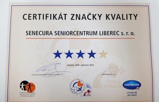 Naše SeniorCentrum v Liberci získalo prestižní Značku kvality